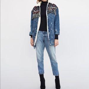 Zara Trafaluc Tribal Aztec Denim Jacket